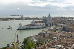 Basilica di Santa Maria della Salute, Grand Canal and lagoon. Aerial view of Venice from San Marco bell tower Stock Images