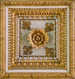 Golden floral decoration from the ceiling of the Basilica of Santa Maria Maggiore in Rome, Italy. royalty free stock image