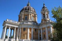 Basilica di Superga, a baroque church on Turin Torino hills, Italy, Europe. Basilica di Superga, a baroque church on Turin Torino  hills, Italy, Europe Stock Image