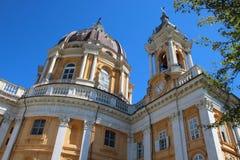 Basilica di Superga, a baroque church on Turin Torino hills, Italy, Europe. Basilica di Superga, a baroque church on Turin Torino  hills, Italy, Europe Royalty Free Stock Photos