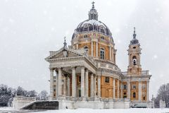 Basilica di Superga church during a snowing in Turin. Basilica di Superga church during a snowing in Turin, Italy Royalty Free Stock Images
