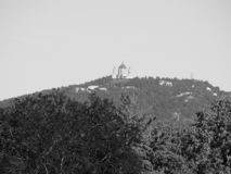 Basilica di Superga in Turin in black and white. Basilica di Superga church on Turin hills, Italy in black and white stock photos