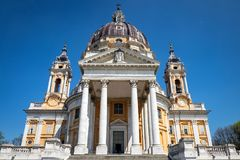 Basilica di Superga sulla collina di Superga, Torino fotografia stock