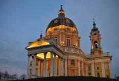 Basilica di Superga in Turin. Basilica di Superga in Torino, Italy, at dusk Royalty Free Stock Photos