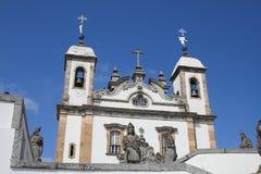 Basilica do Senhor Bom Jesus de Matosinhos. The church and its prophets by Aleijadinho, the crippled Royalty Free Stock Images