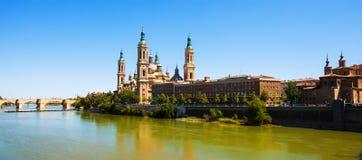 Basilica  and Ebro river. Zaragoza Stock Photos