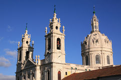 Basilica Estrela 2. Portugal Lisbon twin spires and cupola of the Estrela Basilica - Basilica da Estrela built in 18th Century baroque style Royalty Free Stock Image