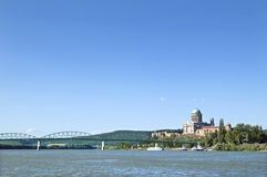 Basilica in Esztergom, Hungary. With the M�ria Val�ria bridge Royalty Free Stock Photography