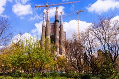 Basilica and Expiatory Church of the Holy Family  in Barcelona Royalty Free Stock Images