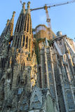 The Basilica and Expiatory Church of the Holy Family (Sagrada Familia). Is large Roman Catholic Church by Catalan architect Antoni Gaudi, building is begun in stock photography