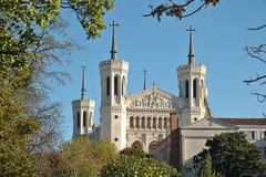 Basilica Fourviere from the park. The basilica (Lyon - France) was started in 1872 and was designed by Pierre Bossan and Sainte-Marie-Pierre. The building was Royalty Free Stock Image