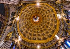 Basilica Golden Dome Cathedral Church Siena Italy. royalty free stock images