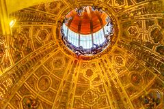 Basilica Golden Dome Cathedral Church Siena Italy. stock photo