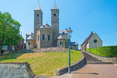 Basilica on a hill in sunlight. In spring royalty free stock photography