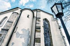Basilica of the Holy Cross in Kezmarok city, Slovakia, blue filt Royalty Free Stock Photo