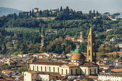 Basilica of the Holy Spirit and surrounding hills. Florence, Ita Stock Images