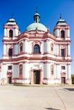 Basilica in Jablonne v Podjestedi, Czech Republic. Outdoors, outside, exteriors, europe, eastern, czechoslovakia, bohemia, architecture, building, church stock image