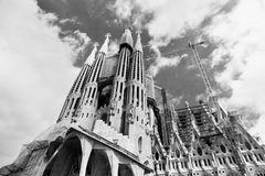 The Basilica of La Sagrada Familia. Designed by Antoni Gaudi, its construction began in 1882 and is not finished yet on September 12, 2013 in Barcelona, Spain Stock Photo