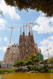 The Basilica of La Sagrada Familia. Designed by Antoni Gaudi, its construction began in 1882 and is not finished yet on September 12, 2013 in Barcelona, Spain Stock Photos