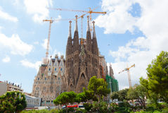 Basilica of La Sagrada Familia. The Basilica of La Sagrada Familia . Designed by Antoni Gaudi, its construction began in 1882 and is not finished yet on Royalty Free Stock Photo