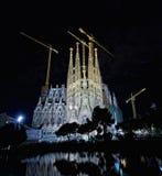 Basilica of La Sagrada Familia at night Royalty Free Stock Photography