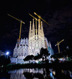 The Basilica of La Sagrada Familia at night. Designed by Antoni Gaudi, its construction began in 1882 and is not finished yet on September 29, 2013 in Royalty Free Stock Photography