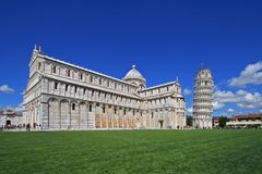 Basilica and the leaning tower Stock Photo