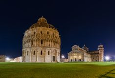 Basilica and the leaning tower in Pisa Italy Royalty Free Stock Photo