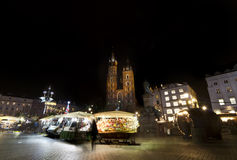 Basilica Mariacka on Market place at christmastime in Krakow Royalty Free Stock Image