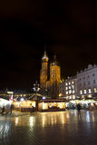 Basilica Mariacka on Market place at christmastime in Krakow Stock Photo