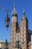 Basilica Mariacki, chiesa gotica di stile, quadrato principale del mercato, Cracovia, Polonia di StMary Immagine Stock Libera da Diritti