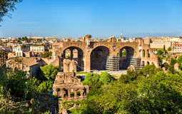 Basilica of Maxentius and Constantine, ruins in the Roman Forum. In Rome, Italy Stock Photos
