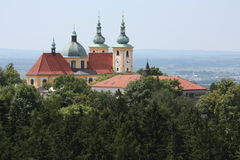 Basilica Minor Church in Olomouc. The pilgrimage Church of the Visitation of the Virgin Mary in Olomouc, Czech Republic, is a monumental Baroque structure built Royalty Free Stock Image