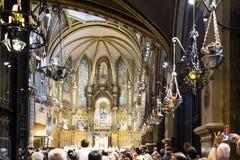 Basilica in monastery Montserrat. Catalonia, Spain Royalty Free Stock Photos