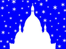 Basilica Montmartre di Sacre Coeur in inverno royalty illustrazione gratis