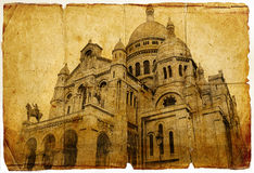 Basilica in Montmartre (Paris). Basilica in Montmartre - picture in retro style Stock Photos