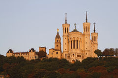 Basilica of Notre-Dame de Fourvière at the morning light Royalty Free Stock Images
