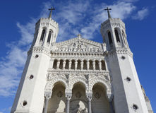 The Basilica of Notre-Dame de Fourviere in Lyon Stock Photos