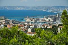Basilica Notre Dame de la Garde and old port Marseille Stock Photos