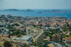 Basilica Notre Dame de la Garde and old port Marseille Royalty Free Stock Photos