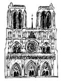 Basilica Notre Dame - vector. Illustration of the basilica Notre Dame Stock Photo