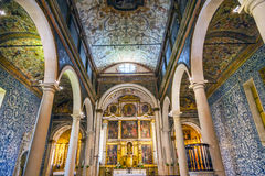 Basilica Obidos Portogallo di Santa Maria Church Igreja Santa Maria Immagine Stock Libera da Diritti
