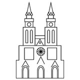 Basilica of Our Lady of Lujan icon, outline style. Basilica of Our Lady of Lujan, Argentina icon in outline style isolated on white background Stock Images