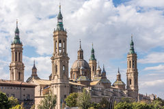Basilica of our Lady of Pilar in Zaragoza, Spain. The basilica in Zaragoza, viewed from across the Ebro Stock Photo