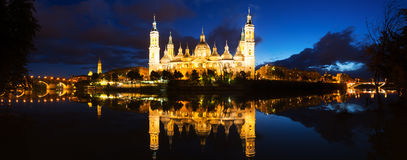 Basilica of Our Lady of the Pillar in evening. Zaragoza Royalty Free Stock Photo