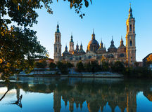 Basilica of Our Lady of the Pillar in morning. Zaragoza Stock Photos