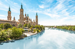 Basilica of Our Lady of Pillar in Spain, Europe. Royalty Free Stock Photography