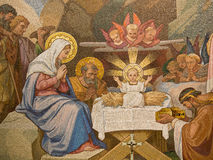 Basilica Our Lady of the Rosary. Detail of mosaic representing the nativity in the Basilica of the Rosary, Lourdes Stock Image