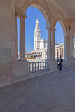 Basilica of Our Lady of the Rosary seen from and through the colonnade royalty free stock image