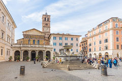 The Basilica of Our Lady of Trastevere in Rome, Italy Royalty Free Stock Photo
